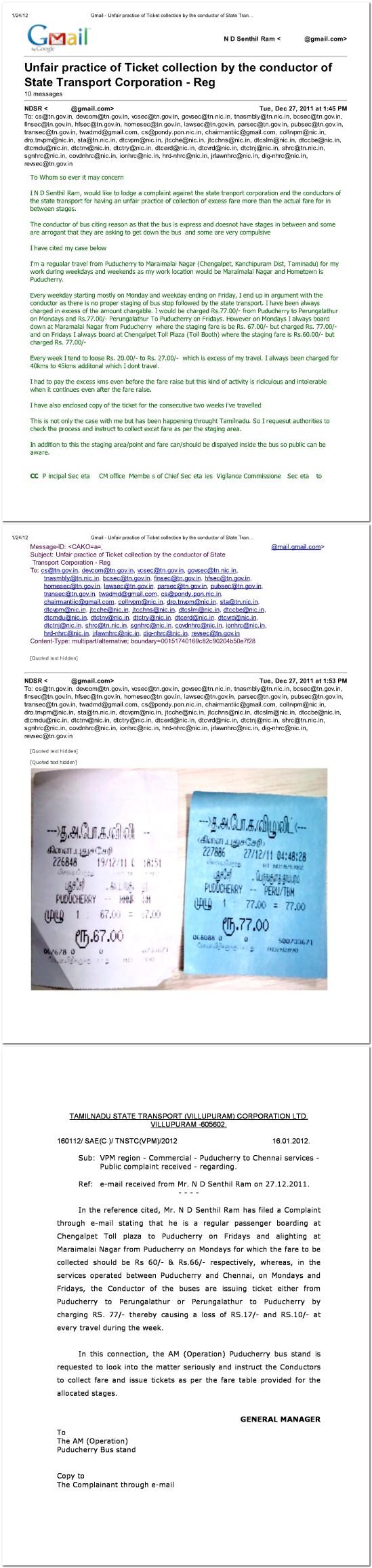 DAXSLY - Excessive Fare in  Tamilnadu state Transport